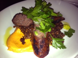grilled lamb sausage with lentils
